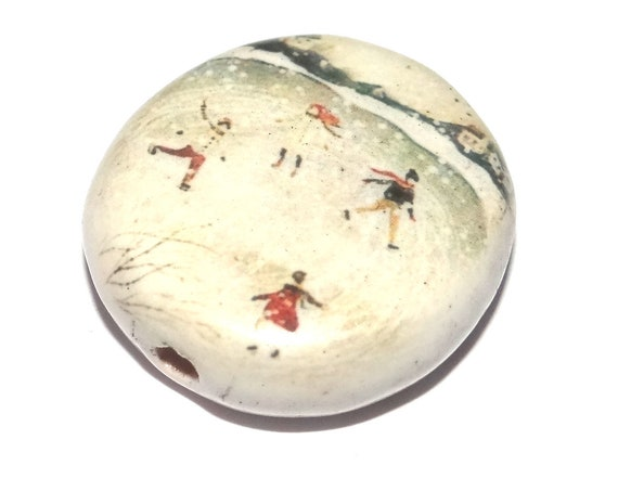 Ceramic Large Winter Scene Focal Bead Porcelain Handmade