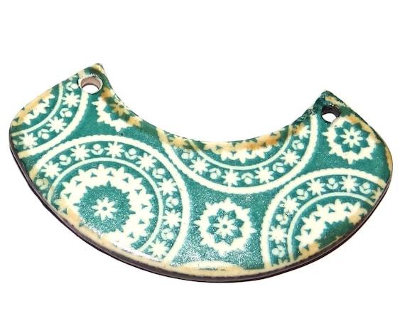 "Ceramic Pendant Patterned Handmade Focal 50mm 2"" CP5-1"
