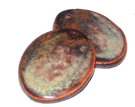 Ceramic Rust Earring Charms Dangle Pair Beads Handmade Rustic