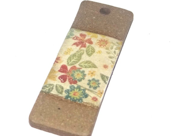 Ceramic Patterned Pendant Porcelain Handmade Focal Flowers