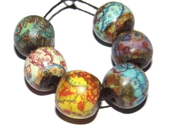 Ceramic Bead Set Porcelain Patterned Handmade