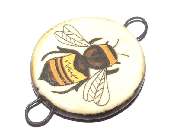 Ceramic Bee Pendant Handmade Focal Porcelain