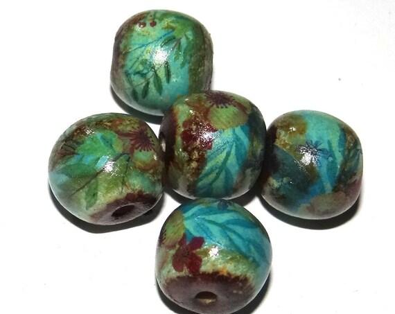 Ceramic Bead Set Stoneware Handmade Pottery Beads Floral