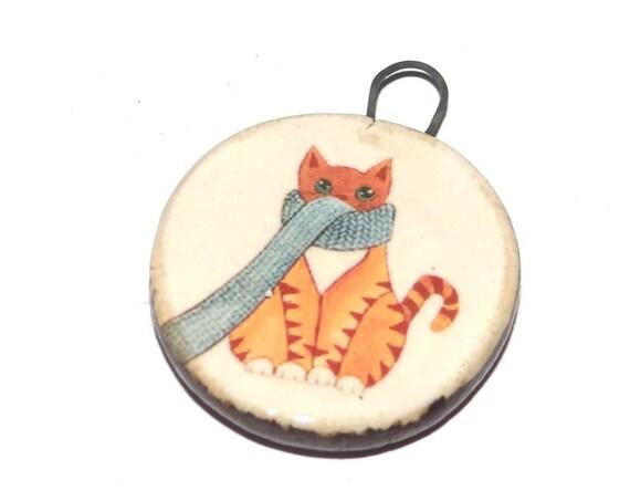 Ceramic Cat Pendant Handmade Focal Porcelain
