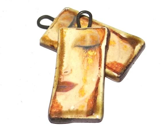 Ceramic Charm Pair Dangles Drops Klimt Handmade Pottery