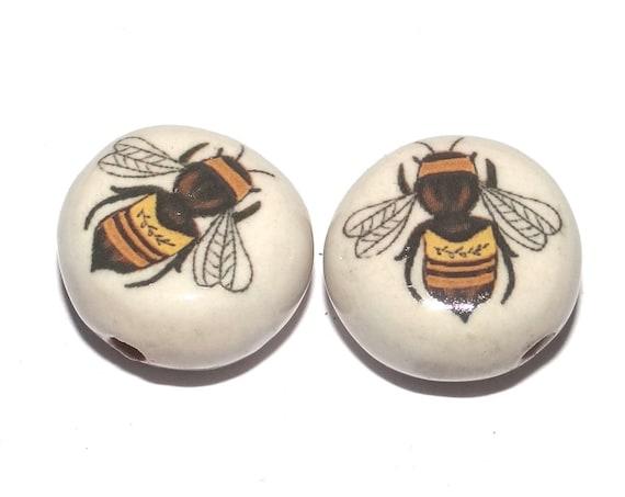 Ceramic Bee Beads Pair Porcelain Handmade
