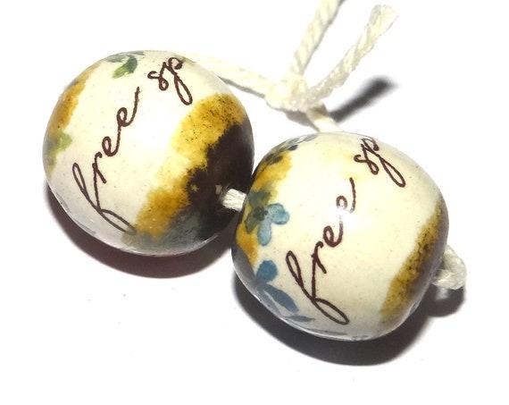 Ceramic Quote Word Beads Handmade Inspiration Message Beads Free Spirit