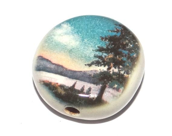 Ceramic Large Lake Forest Focal Bead Porcelain Handmade