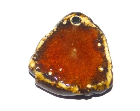 Ceramic Orange Rust Pendant Rustic Handmade