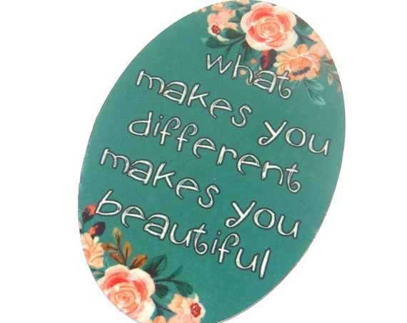 """Large Metal Quote Pendant Handmade Floral 50mm 2"""""""