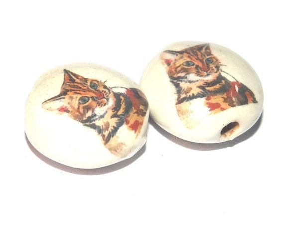 Ceramic Cat Bead Pair Porcelain Handmade