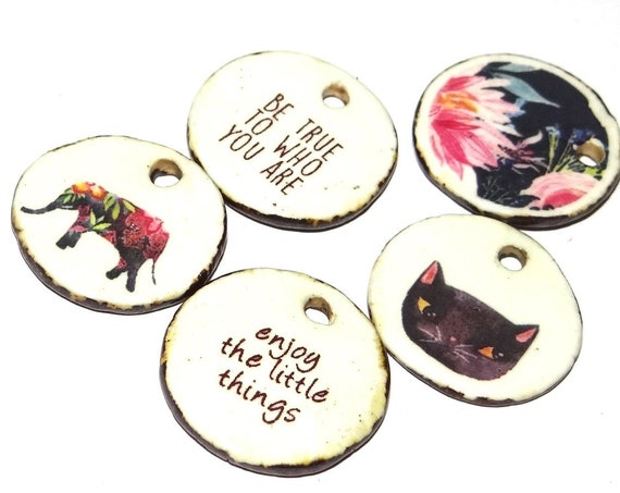 Ceramic Charms Set Quote Rustic Porcelain Pottery