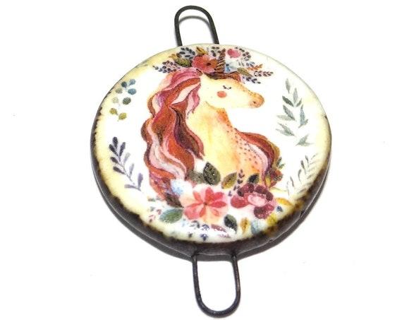 Ceramic Unicorn Pendant Connector Charm Handmade Focal Pretty Girly Rustic