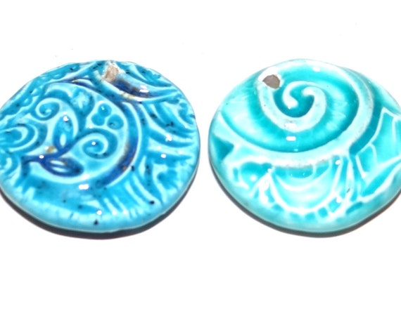 1 Ceramic Porcelain Double Sided Pendants Handmade Pottery Beads Rustic Blue Aqua
