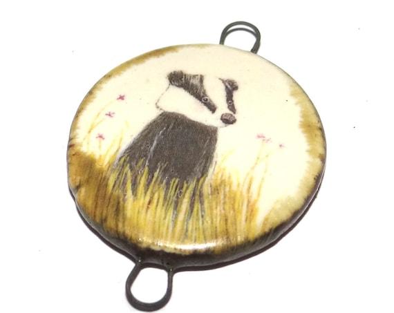 Ceramic Badger Connector Pendant Handmade Porcelain Wildlife