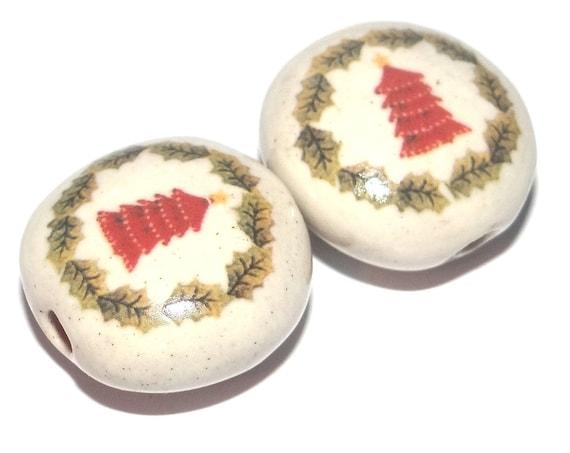 Ceramic Christmas Tree Bead Pair Porcelain Handmade
