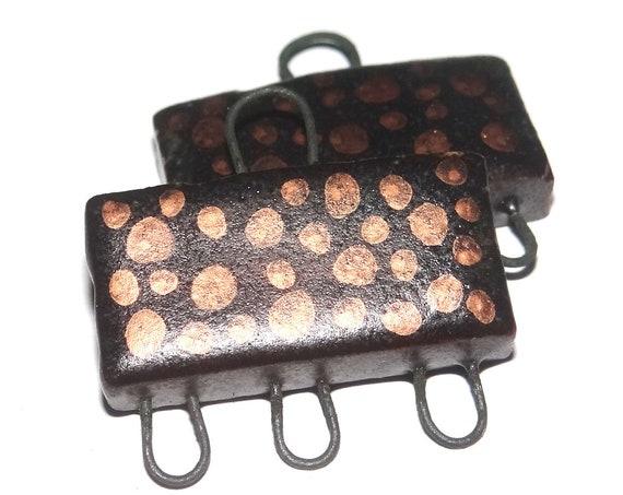 Ceramic Earring Charms Dangle Pair Beads Handmade Rustic Black Copper