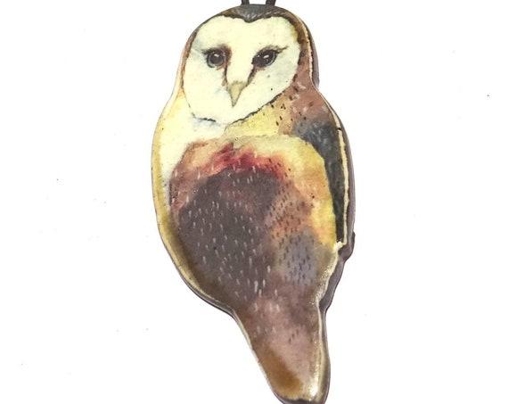 Ceramic Barn Owl Pendant Porcelain Handmade