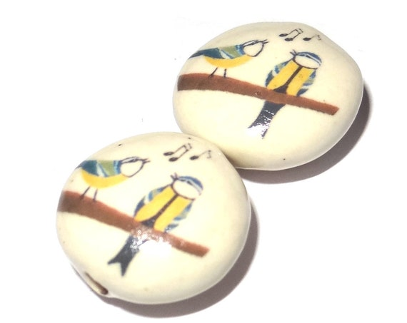 Ceramic Blue Tit Beads Pair Porcelain Handmade Focal