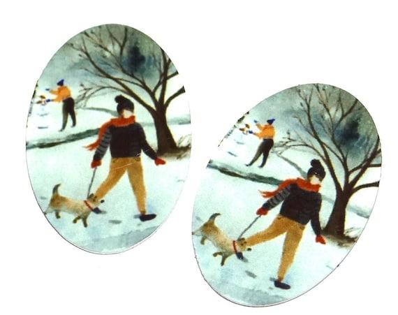 "Metal Dog Walker Winter Snow Charms Handmade 25mm 1"""