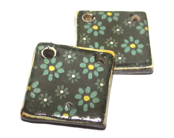 Ceramic Flower Charms Earring Charms Dangle Pair Beads Handmade Rustic