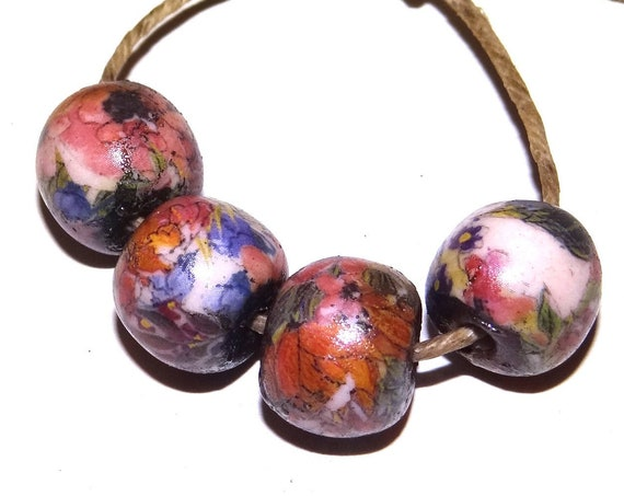 Ceramic Bead Set Stoneware Handmade Pottery Beads Rustic Pink Purple Floral Flowers