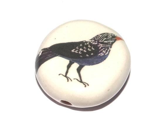 Ceramic Bird Bead Starling Handmade Pottery Porcelain