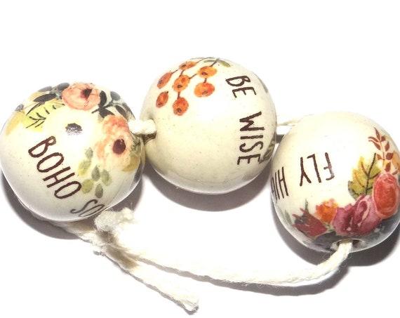 Ceramic Quote Bead Set Inspirational Nature