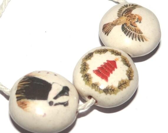 Ceramic Bead Set Bead Porcelain Handmade Badger Tree Bird