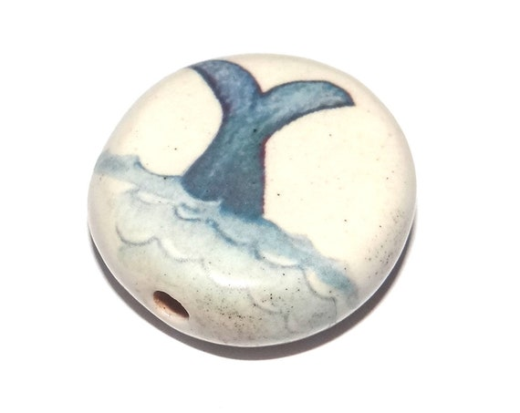 Ceramic Whale Bead Porcelain Handmade Large