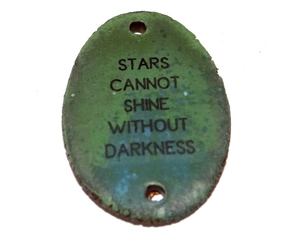 Ceramic Quote Pendant Handmade Pottery Words Inspirational Word Beads Stars
