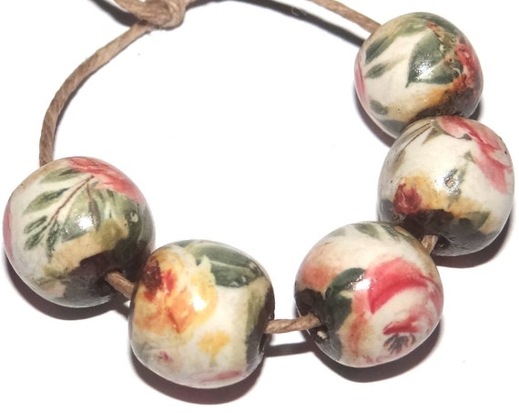 Porcelain Rose Ceramic Beads Floral Rustic Rounds 10mm
