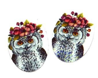 """Metal Owl Charms Handmade 25mm 1"""""""