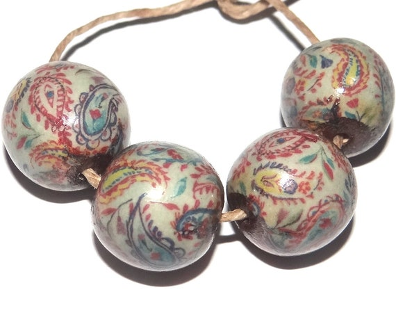Large Porcelain Ceramic Focal Beads Paisley Rustic Rounds 20mm