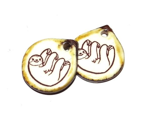 Ceramic Earring Charms Pair Handmade Rustic Sloth