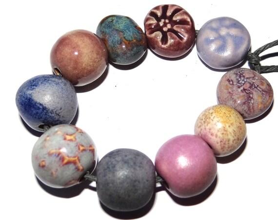 """Handmade Ceramic Beads Porcelain Handmade 10-15mm 0.4-0.6"""""""