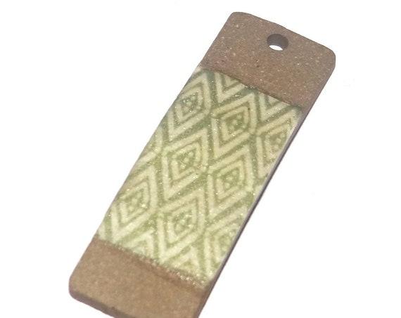Ceramic Patterned Pendant Porcelain Handmade Focal Geometric Green