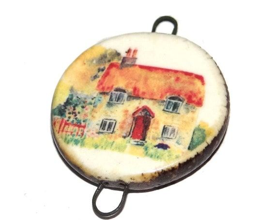 Ceramic Countryside Cottage Scenic Pendant Connector Handmade Porcelain
