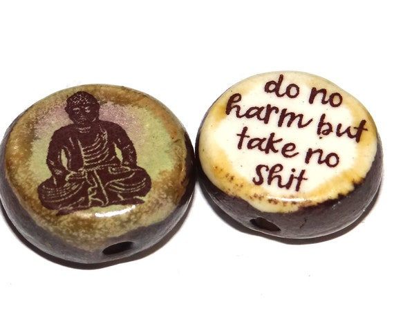 1 Ceramic Double Sided Quote Bead Porcelain Handmade Buddha