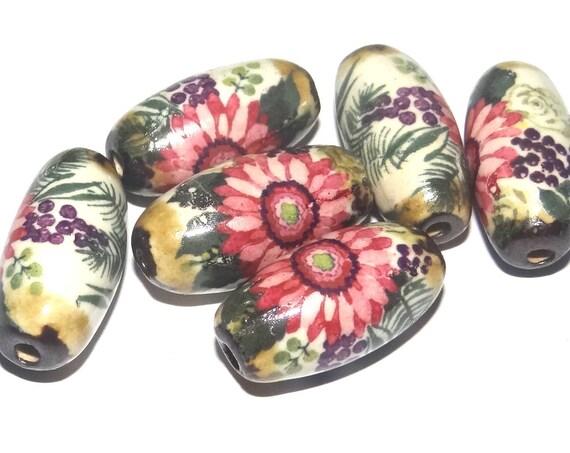"Porcelain Floral Ceramic Beads Floral Rustic Tubes 1"" Pink Green Purple"