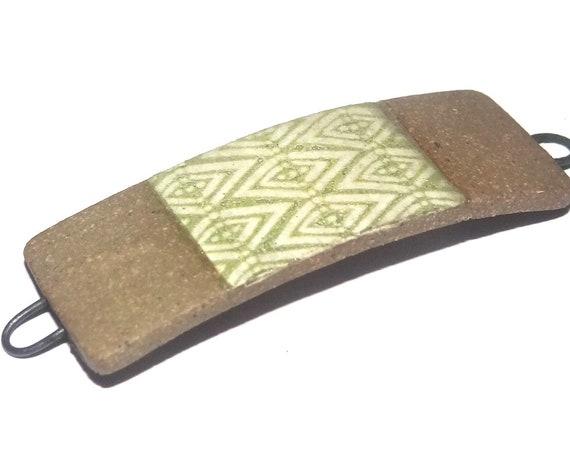 Ceramic Patterned Bracelet Bar Handmade Cuff Green