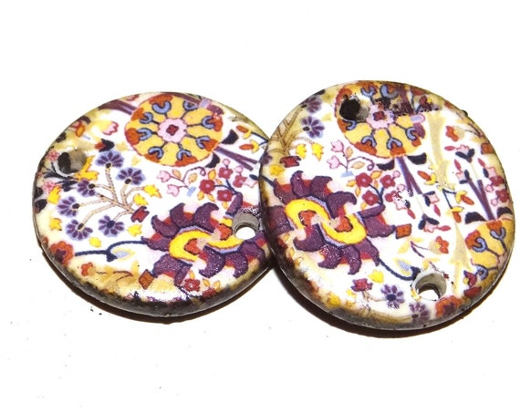 Ceramic Floral Earring Charms Pair Beads Handmade Rustic Patterned