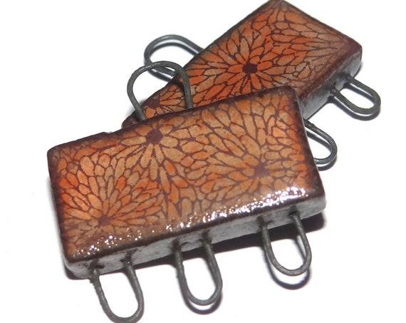 Ceramic Rust Orange Earring Charms Dangle Pair Beads Handmade Rustic Flower