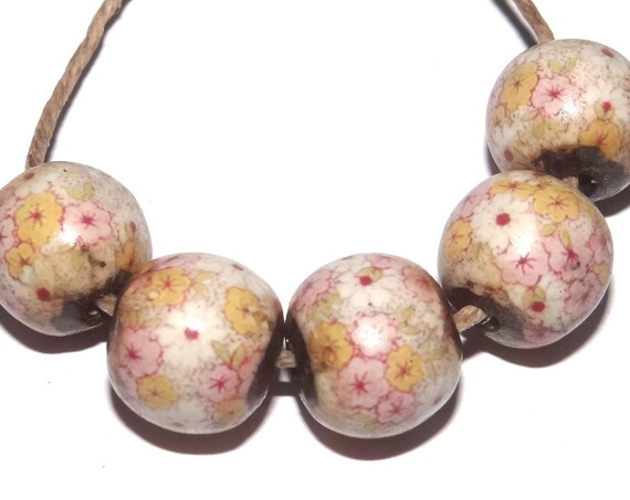 Porcelain Pink Flower Ceramic Beads Floral Rustic Rounds 10mm