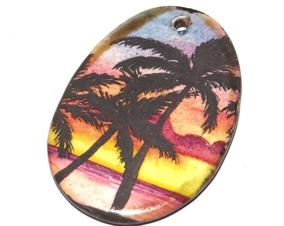 Ceramic Sunset Palm Tree Pendant Handmade Porcelain Focal