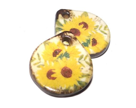 Ceramic Sunflower Earring Charms Porcelain Handmade