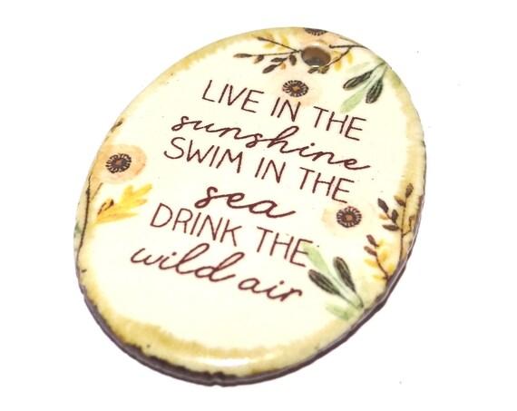 Ceramic Quote Pendant Porcelain Handmade Necklace Focal Sea Ocean