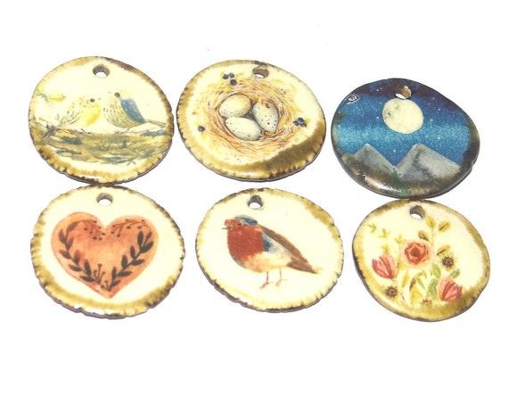 Ceramic Charm Set Handmade Pottery Beads Bird Moon Heart