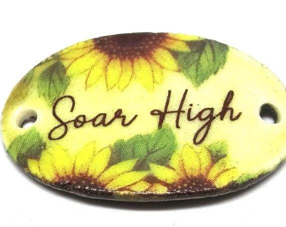 Ceramic Quote Pendant Handmade Focal Inspirational Motivational Positive Attitude