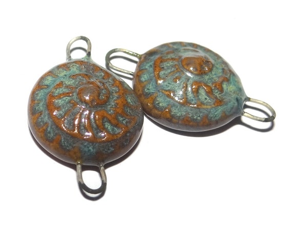 Ceramic Ammonite Charms Pair Porcelain Handmade